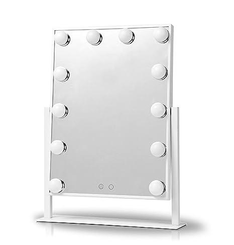 UPHAN V1 gran pantalla táctil de estilo Hollywood iluminado maquillaje espejo vanidad con bombillas LED regulable, ...