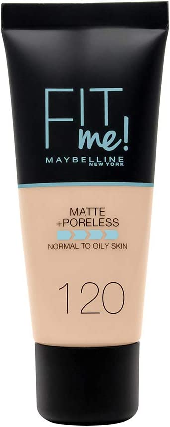 Maybelline New York - Fit Me, Base de Maquillaje Mate Afina Poros, Tono 120 Classic Ivory - 30 ml