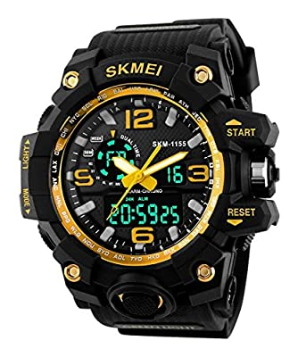 Takyae Big Dial Digital Watch Men Military Army Watch Water Resistant Date Calendar LED Sports Watches Montre Homme - Black