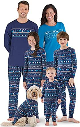PajamaGram Peace On Earth Fair Isle Matching Family PJS, Navy, Women XSM (2-4)