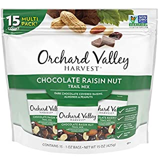 ORCHARD VALLEY HARVEST Chocolate Raisin Nut Trail Mix, 1 oz (Pack of 15), Non-GMO, No Artificial Ingredients