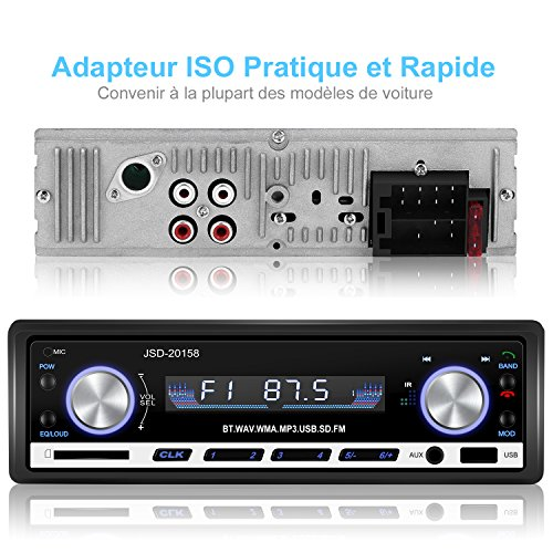 yohoolyo autoradio bluetooth poste radio voiture auto radio adapteur iso support usb sd mm aux. Black Bedroom Furniture Sets. Home Design Ideas