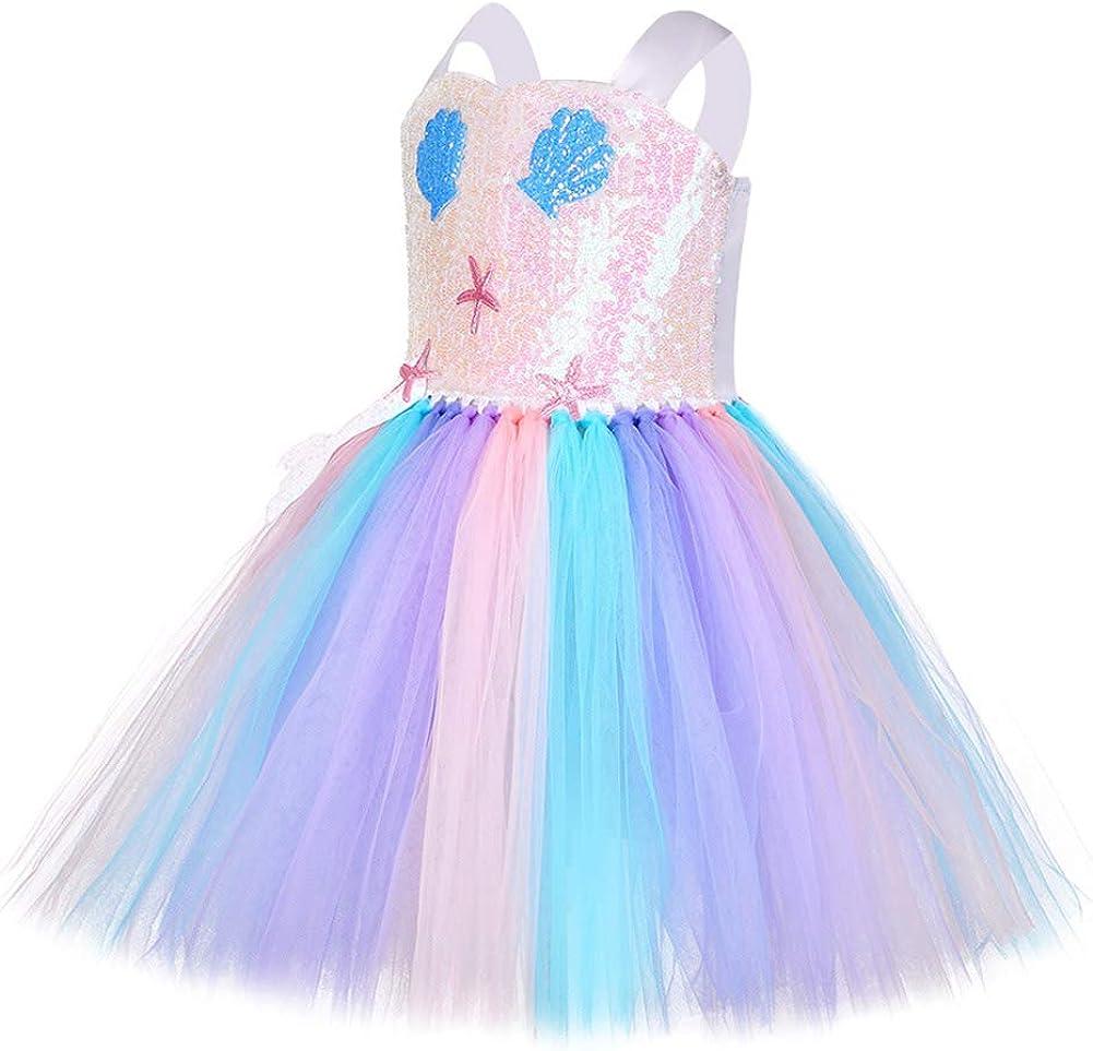 FONLAM Abito da Festa per Ragazze Bambine Infantile Tutu Tulle Vestito da Sirena Principessa Compleanno a Fiori Carnevale Ragazze