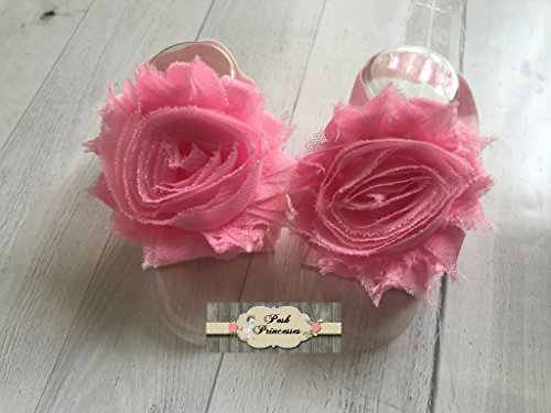 Barefoot Baby Footless Sandals,Pink Petal Baby Shoes, Flower Shoes, Baby Cake Smash, Birthday Girl, Any Size