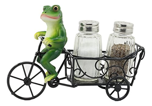Ebros ''Croak'' Spice Village Town Delivery Green Toad Frog Riding Bicycle Cart Salt And Pepper Shakers Holder Figurine 7.5''Long Whimsical Animal Kitchen Decor by Ebros Gift