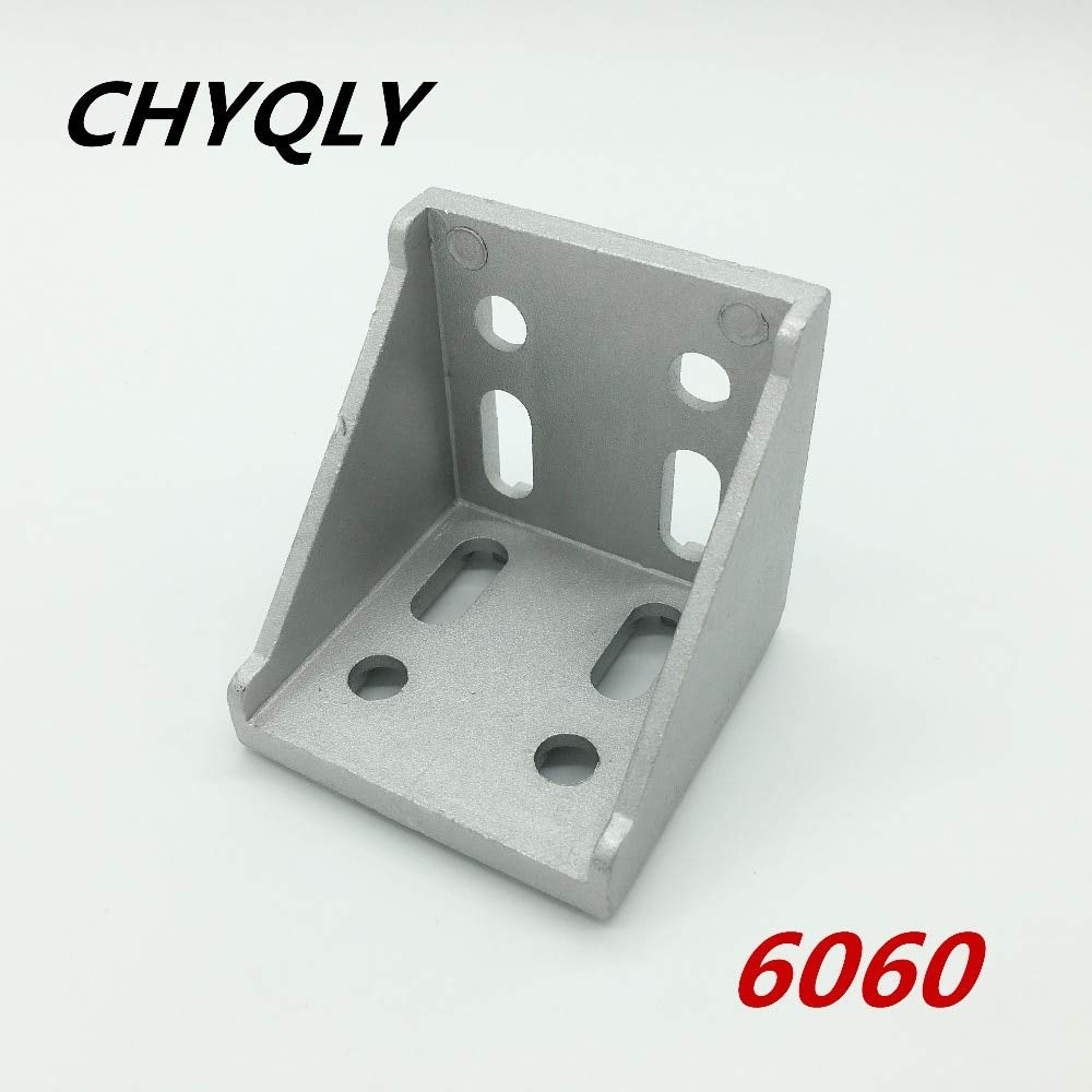 Gimax 20pcs/lot 6060 Corner Fitting Angle Aluminum L Connector Bracket Fastener Match use 6060 Industrial Aluminum Profile