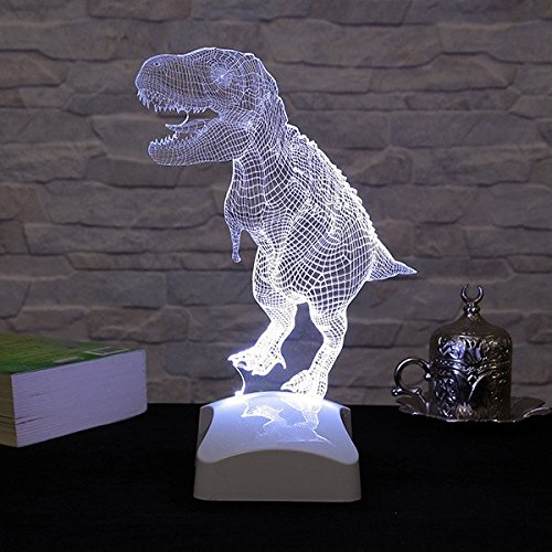 LaModaHome Jurassic Hologram Table Lamp - Old Big Animal Friend T-Rex, 100% Plexiglass, Size (9.1'' x 10.6'') 3D Illusion Minimalist Solid Bedside Table Lamp for Living Room, Bedroom, Kids Room by LaModaHome (Image #3)