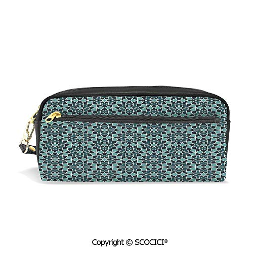 Students PU Pencil Case Pouch Women Purse Wallet Bag Arabesque Persian Geometric Complex Lines and Floral Patterns in Retro Style Culture Art Waterproof Large Capacity Hand Mini Cosmetic Makeup Bag (Leather Epi Billfold)