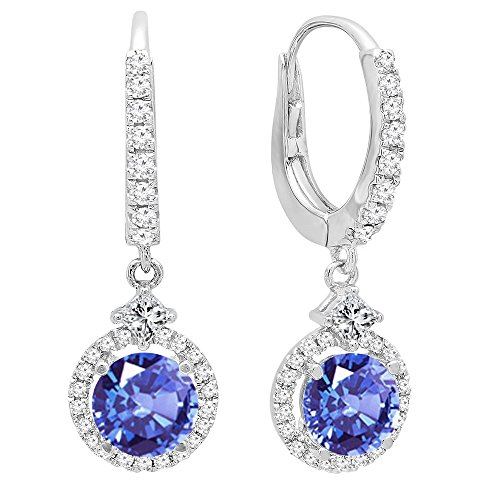 14K White Gold 5.5 MM Each Round Cut Tanzanite And Round & Princess Cut Diamond Drop (Princess Cut Tanzanite Earring)