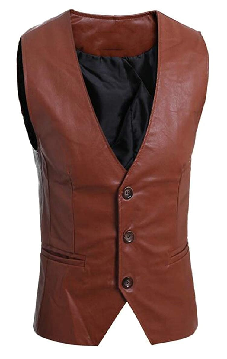 ONTBYB Mens Suit Vest Designer Solid V-Neck Slim Business Waistcoat
