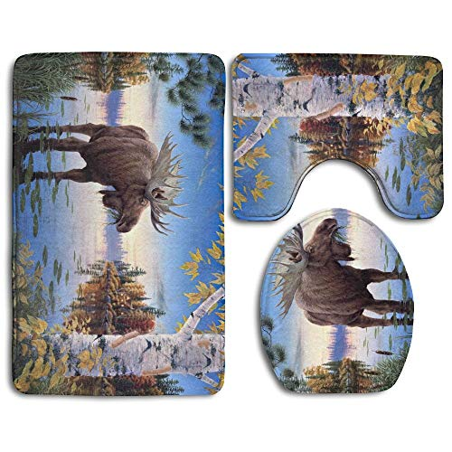 YGUII Free Moose Soft Comfort Flannel Bathroom Mats,Non-Slip Absorbent Toilet Seat Cover Bath Mat Lid Cover,3pcs/Set Rugs
