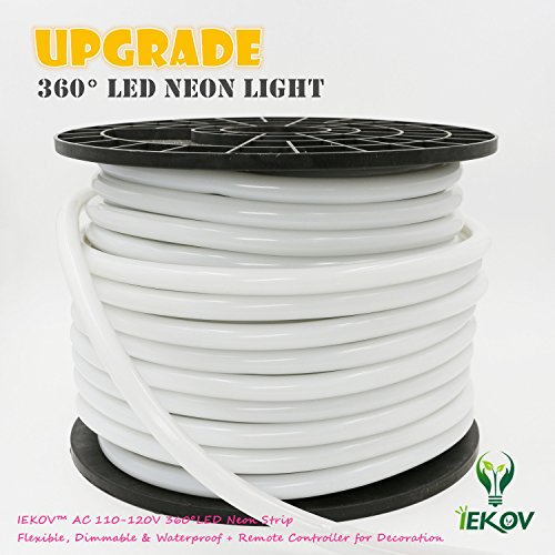 [UPGRADE] 360° LED NEON LIGHT, IEKOV™ AC 110-120V Flexible 360 Degree LED Neon Strip Light, Dimmable & Waterproof NEON LED Rope Light+Remote Controller (98.4ft/30m, Golden Yellow) by IEKOV (Image #6)