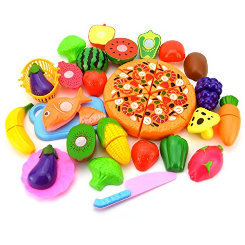 SINCEREST Cutting/Play Food Set - Pretend Fruits Vegetables Playset BPA Free Plastic Early Age Educational Learning Resources Fun Cutting Kitchen Toys for Toddlers Kids Girls Boys - 24PCS (Food Play Set Slicing)
