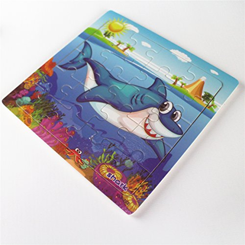 Meshion Wooden Jigsaw Puzzles With Storage Tray Ocean Set Kids Toys Preschool Learning Game For 3-5 Years Old Child,Boys,Girls,Pack Of 6(Mermaid,Octopus,Shark,Starfish,Dolphin,Lobster) by Meshion (Image #8)