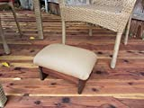 Outdoor Padded Foot Stool Canvas Antique Beige 9'' Tall (Made in the USA)