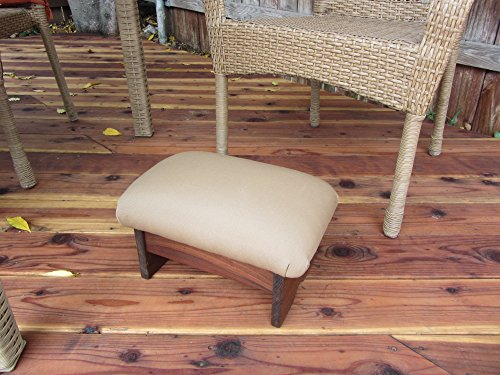 Outdoor Padded Foot Stool Canvas Antique Beige 9'' Tall (Made in the USA) by KR Ideas