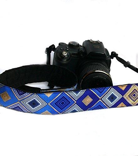 Camera Strap. DSLR Camera Strap. Black Gold Blue Camera Strap. Padded Camera Strap. Fashion Camera strap. Camera Accessories; 072