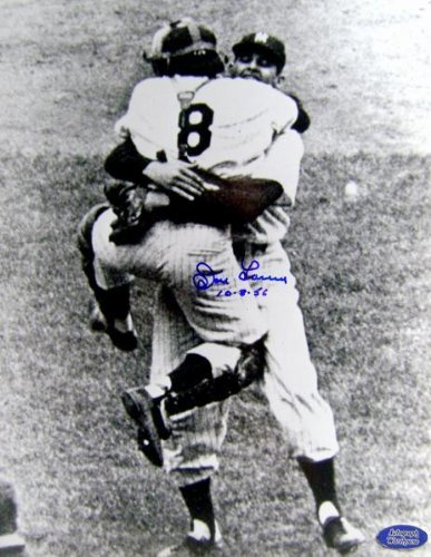 Signed Don Larsen Photo - 1956 World Series Perfect Game Celebration 11x14 inscribed 10 8 56 - Autographed MLB Photos