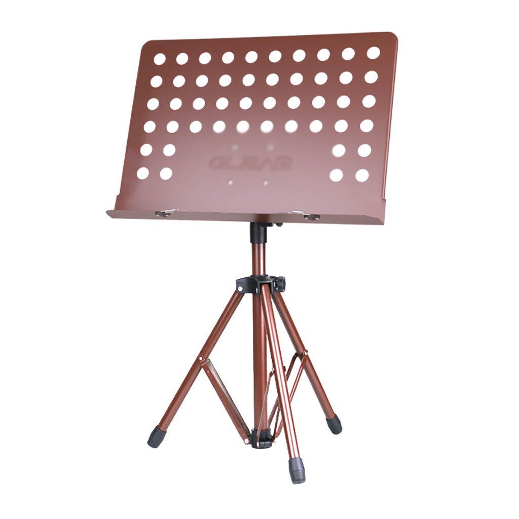 ミュージックスタンド折りたたみ高さ調節可能80-146cmポータブルオーケストラ楽譜スタンド (色 : Brown-Without bag)  Brown-Without bag B07FMD9933