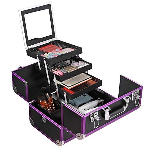SONGMICS Maletín para maquillaje Estuche de maquillaje color Negro JBC221B