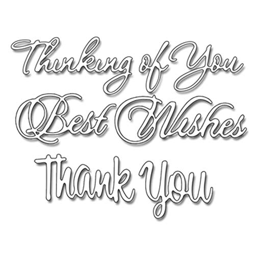 (Thinking of You Best Wishes Phrases Metal Cut Cutting Dies Mold Tool for Handmade DIY Craft Scrapbooking Scrapbook Embossing Paper Cards Decorative Crafts New Die)