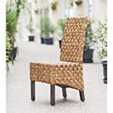 International Caravan Bali Victor Woven Abaca Dining Side Chair – Set of 2 For Sale
