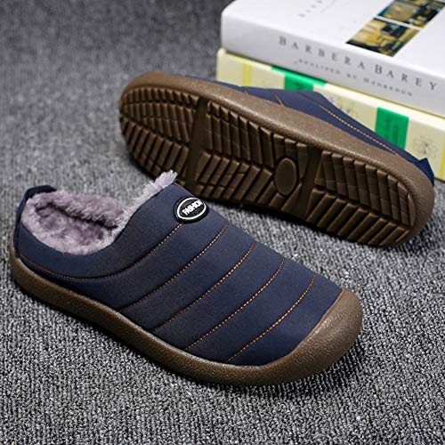 Slip on Wool Soft Indoor Snow Shoes House Women Dark Plush Men Outdoor Lined Slippers Nishiguang Blue Winter for zFXHYv