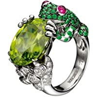 Yupha 925 Silver Ring 2.75CT Peridot Emerald Frog Animal Women Men Wedding Size 6-10 (6)