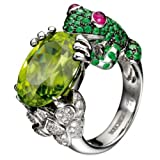 Yupha 925 Silver Ring 2.75CT Peridot Emerald Frog Animal Women Men Wedding Size 6-10 (7)