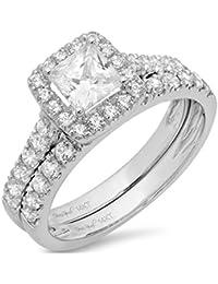 1.8 Ct Princess Cut Pave Halo Bridal Engagement Wedding Anniversary Ring Band Set 14K White Gold, Clara Pucci