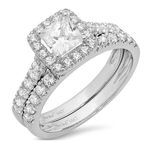 1.60 CT Princess Cut CZ Pave Halo Bridal Engagement Wedding Ring band set 14k White Gold, Size 6 by Clara Pucci