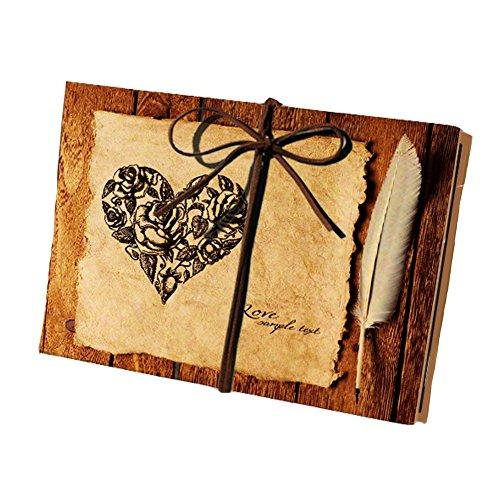 Longpro Hand Made Hardcover Kraft Paper Folding Photo Album, Rose Theme DIY Photo Album,Anniversary Scrapbook,Wedding Photo Album