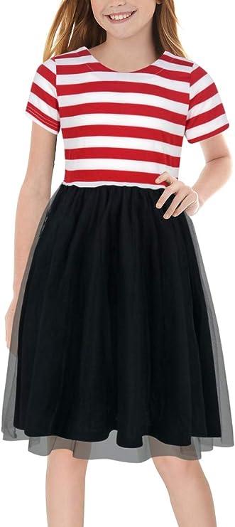 50s Girl Costumes, 50s Girl's Dresses GORLYA Girls Short Sleeve Casual Patchwork Tulle Tutu Elegant Party A-line Dress for 4-12 Years Kids $15.99 AT vintagedancer.com