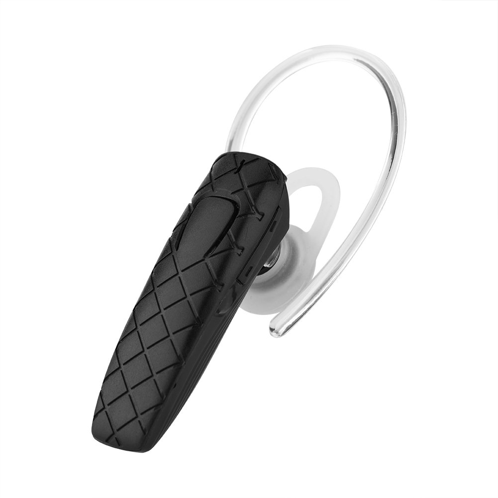 Mugast Wireless Earpiece, Bluetooth 4.1 Earhook Headphone with Noise Cancelling Function, 3 Hours Long Play Time, 2 Phones Connection, Black, White(Optional)(Black)