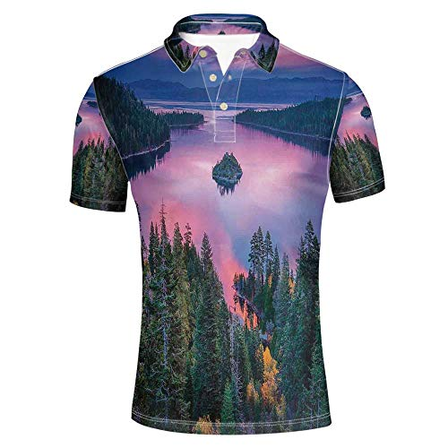 Lake Stylish Polo Shirt,High Angle Majestic View of North American Freshwater Lake Outdoor Mother Earth Image for Men,M (Majestic American Dj)