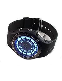 Tvg Men's Rubber Blue Binary LED Watch Mens Diving Sport Watch