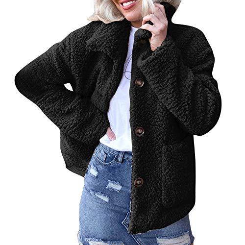 Lapel Single Button Faux Wool Coat Winter Warm Jacket Pocket Outerwear ()