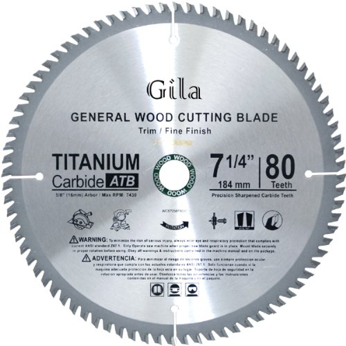 (GilaTools 7-1/4-Inch 80 Teeth ATB Trim and Fine Finish Carbide Saw Blade)