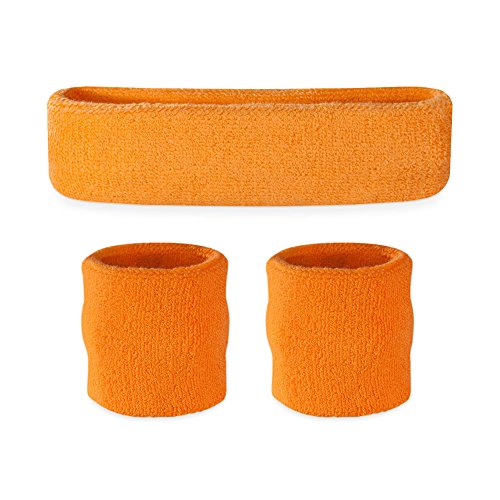 Suddora Kids Sweatband Set (1 Headband / 2 Wristbands) (Neon Orange)