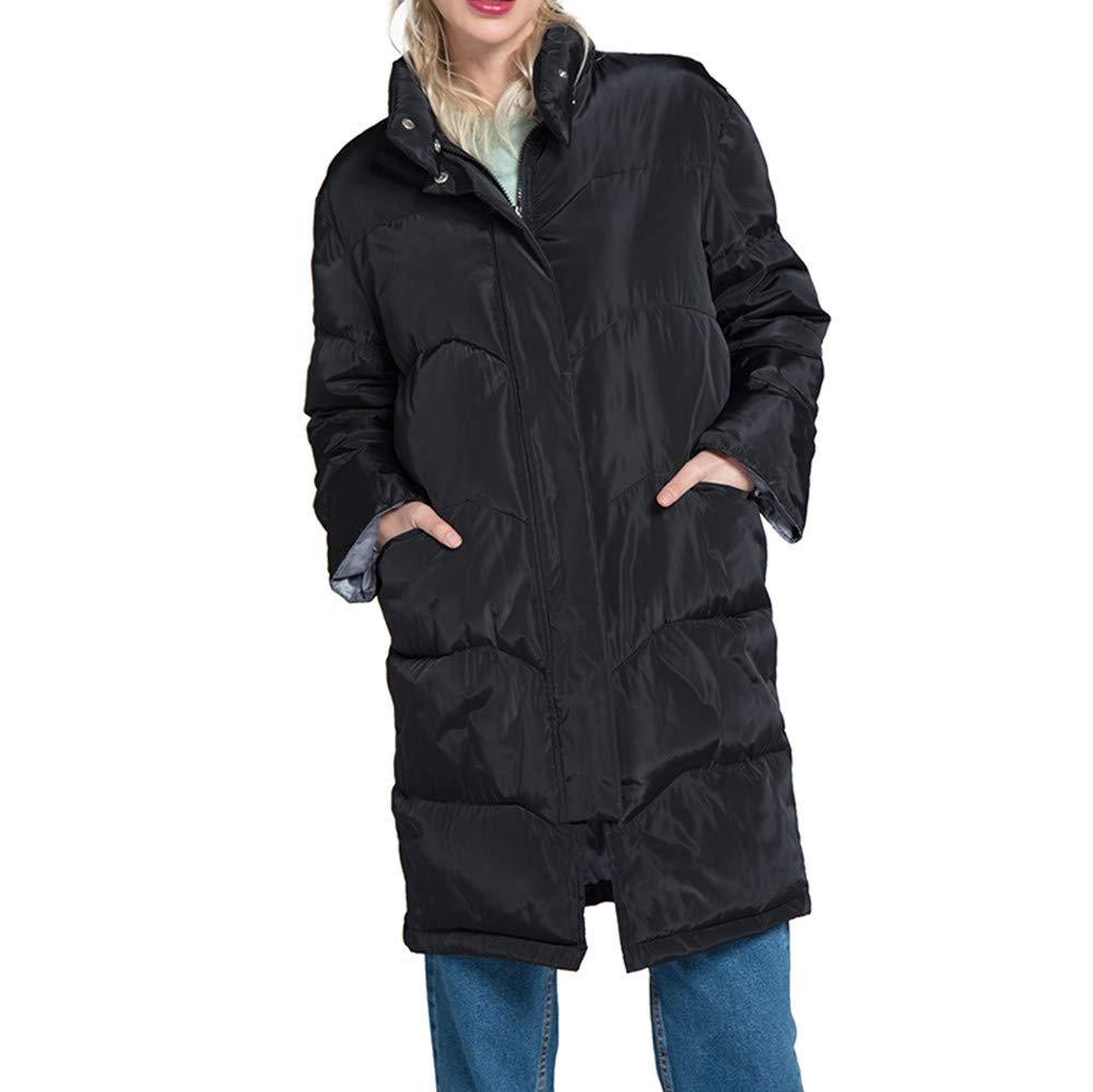 AOJIAN Women Jacket Long Sleeve Outerwear Warm High Collar Zipper Button Quilted Solid Coat Black by AOJIAN