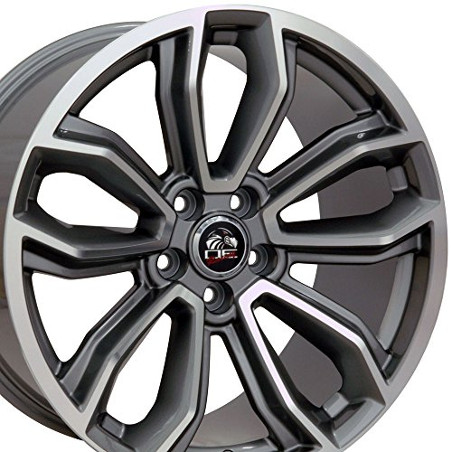 19x9 Wheels Fit Ford - Mustang Style Rims - Gunmetal w/Mach'd Face - SET