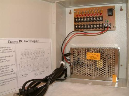 9 Channels 12V DC Regulated Distributed Power Supply panel individually fused 5 AMP Total Output, 1.1 AMP Output per Channel plus PTC Reset-able Fuse ()