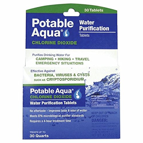 Potable Aqua Chlorine Dioxide Water Purification - Portable Tablets For Camping or Emergency Drinking Water, 30 Tablets (Water Aqua Tabs)