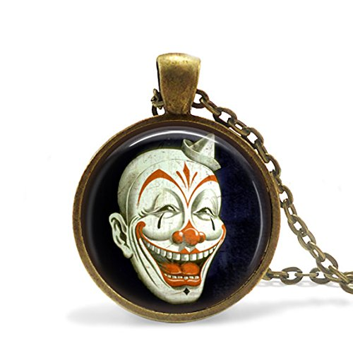 Steampunk Clown Necklace, Killer Clown Nightmare Necklace, Gifts for Him, Gifts for Dad, Halloween Necklace ()