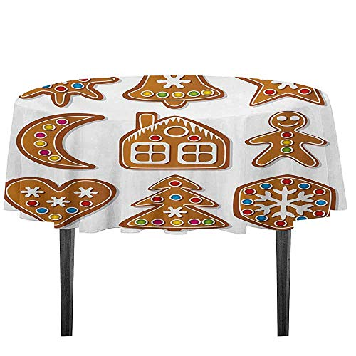 kangkaishi Gingerbread Man Printed Tablecloth Graphic Gingerbread Sugar Biscuits with Colorful Dots Bonbons Print Desktop Protection pad D55.11 Inch Brown Multicolor]()