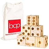 Best Choice Products Set of 6 Giant 3.5in Wooden Playing Dice Game w/Canvas Carrying Bag - Brown