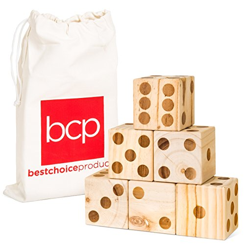 Best Choice Products Set of 6 Giant 3.5in Wooden Playing Dice Game w/Canvas Carrying Bag - Brown by Best Choice Products