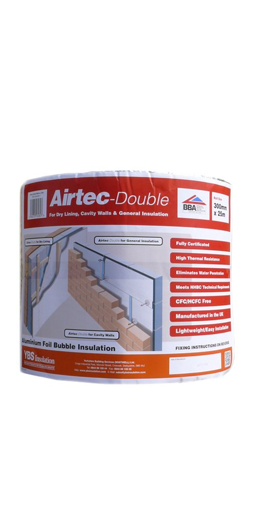 Airtec Film isolant double multicouche à bulles 300 mm x 25 m x 3, 7 mm YBS Insulation Airtec Double 300mm x 25m x 3.7mm
