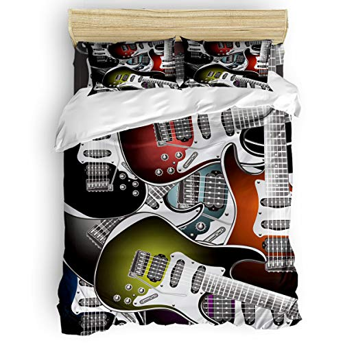 Plelat Queen Size 4 Pieces Duvet Cover Set with Zipper,Cool Guitar Colorful Pattern Duvet Cover Sets for Kids Boys Girls,Include 1 Duvet Cover+1 Bed Sheets+2 Pillow Case ()