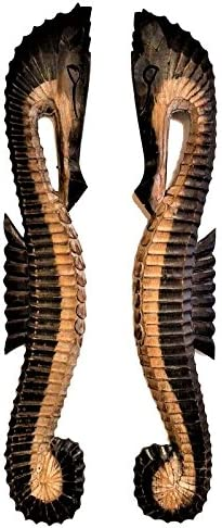 All Seas Imports SET OF 2 X-LARGE CUSTOM 39 x 6 COASTAL DECOR HANDCARVED WOOD INDOOR OUTDOOR RIGHT LEFT SEAHORSES